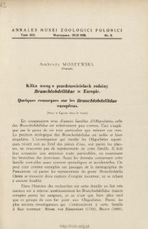 Quelques remarques sur les Branchiobdellidae européens