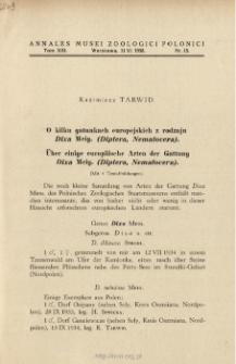 Über einige europäische Arten der Gattung Dixa Meig. (Diptera, Nematocera) = O kilku gatunkach europejskich z rodzaju Dixa Meig. (Diptera, Nematocera)
