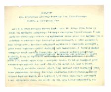 Zagajenie 100. posiedzenia Polskiego G[T]ow. filozoficznego.Piątek, 4 listopada, 1910
