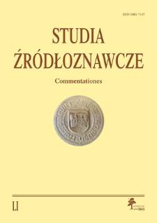 Studia Źródłoznawcze = Commentationes T. 51 (2013), Title pages, Contents