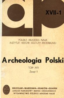 Archeologia Polski. Vol. 17 (1972) No 1, Conferences
