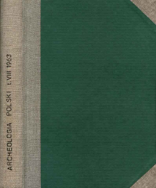 Archeologia Polski. Vol. 8 (1963) No 1, Reviews