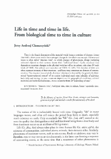 Life in time and time in life. From biological time to time in culture