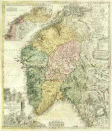 Regni Norvegiæ Accvrata Tabula in qua Præfecture qiunque Generales Aggerhvsiensis, Bergensis Nidrosiensis, Wardhusiensis Et Bahusiensis ostenduntur