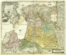 Dvcatvvm Livoniæ et Cvrlandiæ cum vicinis Insulis Nova Exhibitio Geographica.