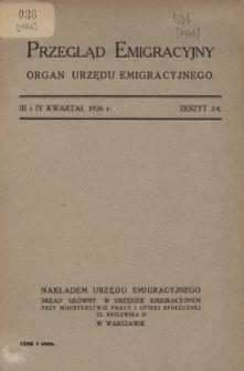 Przegląd Emigracyjny : organ Urzędu Emigracyjnego, 1926, z. 3/4