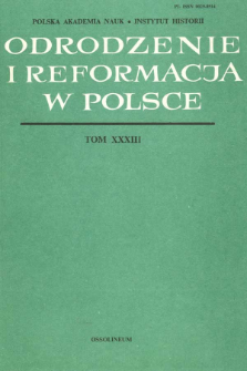 Odrodzenie i Reformacja w Polsce T. 33 (1988), Recenzje