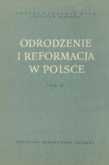 Odrodzenie i Reformacja w Polsce T. 4 (1959), Strony tytułowe, Spis treści