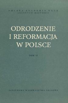 """Odrodzenie i Reformacja w Polsce T. 6 (1961), Strony tytułowe, Spis treści, Errata do t. 5 """"Odrodzenie i Reformacja w Polsce"""""""