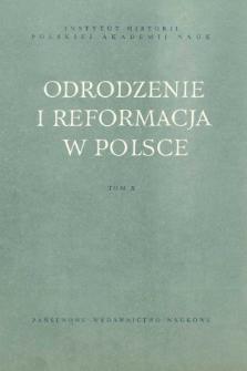 Odrodzenie i Reformacja w Polsce T. 10 (1965), Title pages, Contents