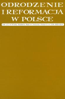 Odrodzenie i Reformacja w Polsce T. 52 (2008), Strony tytułowe, Spis treści