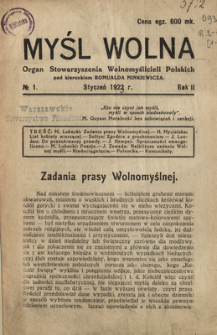Myśl Wolna : organ Stow. Wolnomyślicieli Polskich, Rok 2, Nr 1