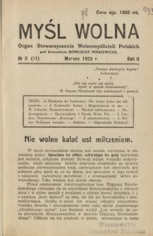 Myśl Wolna : organ Stow. Wolnomyślicieli Polskich, R. 2, Nr. 3