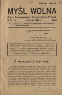 Myśl Wolna : organ Stow. Wolnomyślicieli Polskich, R. 2, Nr 6