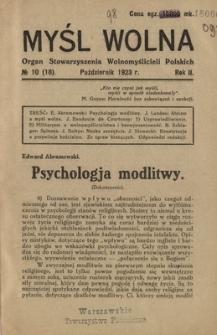 Myśl Wolna : organ Stow. Wolnomyślicieli Polskich, R. 2, Nr 10