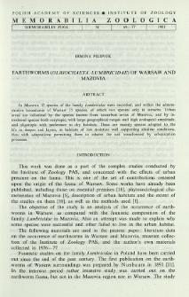 Earthworms (Oligochaeta, Lumbricidae) of Warsaw and Mazovia
