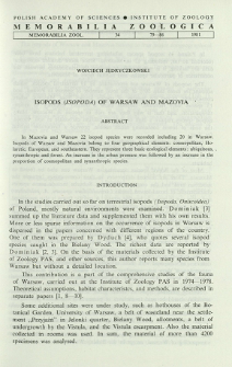 Isopods (Isopoda) of Warsaw and Mazovia