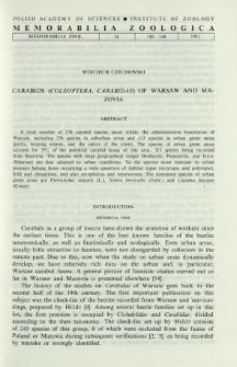 Carabids (Coleoptera, Carabidae) of Warsaw and Mazovia