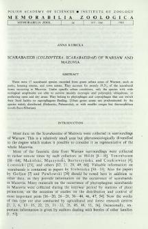 Scarabaeids (Coleoptera, Scarabaeidae) of Warsaw and Mazovia