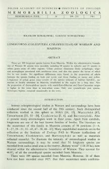 Longicorns (Coleoptera, Cerambycidae) of Warsaw and Mazovia