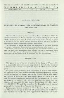 Curculionids (Coleoptera, Curculionidae) of Warsaw and Mazovia