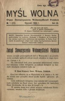 Myśl Wolna : organ Stow. Wolnomyślicieli Polskich, R. 3, Nr 1