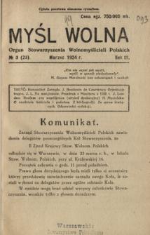 Myśl Wolna : organ Stow. Wolnomyślicieli Polskich, R. 3, Nr 3