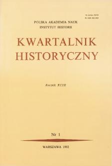 Kwartalnik Historyczny R. 99 nr 1 (1992), Strony tytułowe, Spis treści