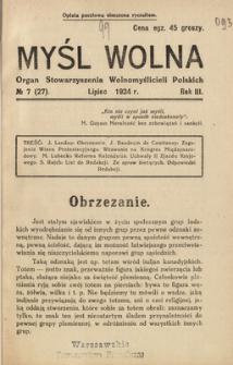 Myśl Wolna : organ Stow. Wolnomyślicieli Polskich, R. 3, Nr 7