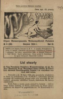 Myśl Wolna : organ Stow. Wolnomyślicieli Polskich, R. 3, Nr 8