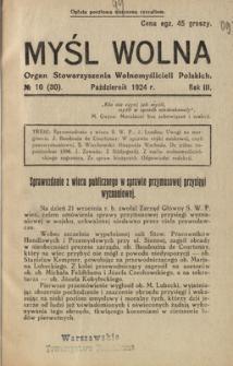 Myśl Wolna : organ Stow. Wolnomyślicieli Polskich, R. 3, Nr 10