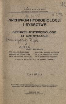 Archiwum Hydrobiologji i Rybactwa Tom I Nr 1-2