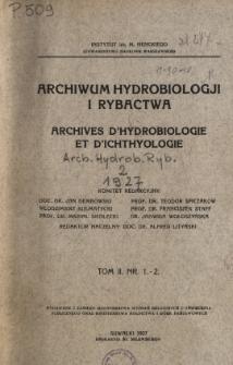 Archiwum Hydrobiologji i Rybactwa, Tom II Nr 1-4