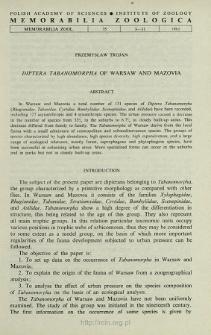 Diptera Tabanomorpha of Warsaw and Mazovia