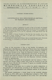 Sarcophagidae and Rhinophoridae (Diptera) of Warsaw and Mazovia