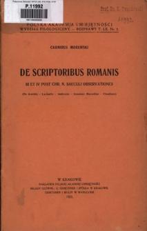 De scriptoribus Romanis III et IV post Chr. n. saeculi observationes : (De Arnobio - Lactantio - Ambrosio - Ammiano Marcellino - Claudiano)