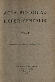 Acta Biologiae Experimentalis. Vol. II, 1928