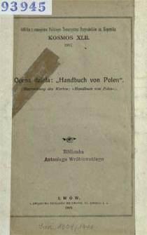 """Ocena dzieła: """"Handbuch von Polen"""" = (Besprechung des Werks: """"Handbuch von Polen"""")."""