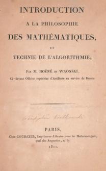 Introduction à la philosophie des mathématiques, et technie de l'algorithmie