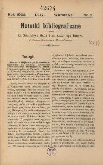 Notatki bibliograficzne : [dodatek do Biblioteki Dzieł Chrześcijańskich]