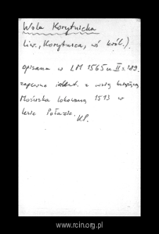 Wola Korytnicka. Files of Liw district in the Middle Ages. Files of Historico-Geographical Dictionary of Masovia in the Middle Ages