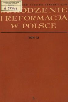 Odrodzenie i Reformacja w Polsce T.11 (1966), Title pages, Contents