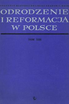 Odrodzenie i Reformacja w Polsce T. 13 (1968), Strony tytułowe, Spis treści, Errata