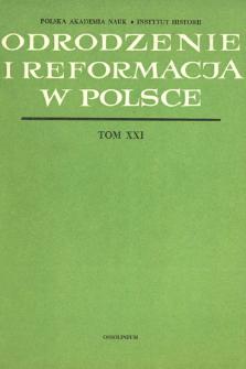 Odrodzenie i Reformacja w Polsce T. 21 (1976), Strony tytułowe, Spis treści