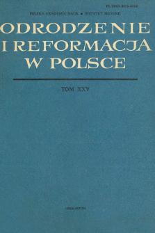 Odrodzenie i Reformacja w Polsce T. 25 (1981), Strony tytułowe, Spis treści