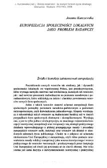 Europeizacja społeczności lokalnych jako problem badawczy