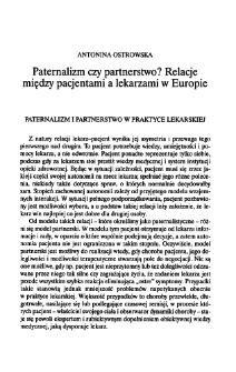 Paternalizm czy partnerstwo? Relacje między pacjentami a lekarzami w Europie