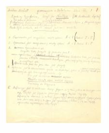 Odpowiedzi pisemne studentów K.T. na dwa zestawy pytań zadawanych przy przyjęciu na proseminarium