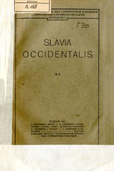 Slavia Occidentalis. T. 1 (1921)
