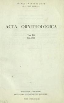 Acta Ornithologica ; vol 21 - Spis treści